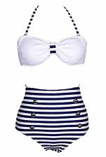 FASHION CUTEST RETRO SWIMSUIT SWIMWEAR VINTAGE PUSH-UP HIGH WAIST BIKINI SET