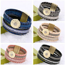 Lots Rows Leather Wrap Wristband Cuff Punk Crystal Magnetic Bracelet Bangle