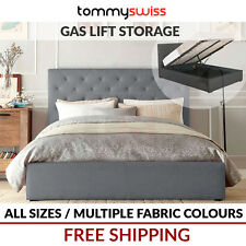 TOMMY SWISS: NEW KING, QUEEN & DOUBLE Gas Lift Storage Fabric Bed Frame - Marco