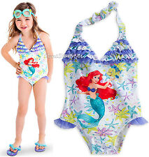 LITTLE MERMAID PRINCESS ARIEL SWIMSUIT GIRLS 1PC SIZE 4 5/6 7/8 DISNEY STORE NEW