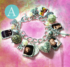 **BEE GEES **Robin Gibb * Andy ** Maurice  charm bracelet necklace