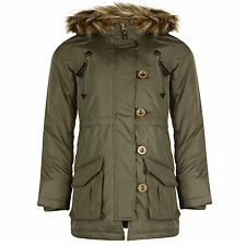 Girls Parka Jacket Minx New Faux Fur Trim Hooded Kids Warm Winter School Coat