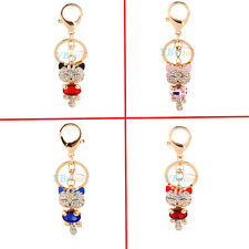 Lucky Smile Cat Crystal Rhinestone Keyrings Key Chains Purse Bag For Car Gift