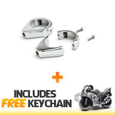 Chrome Turn Signal Relocation Clamp Kit Fits 41mm Fork Tube+Sportbike Keychain