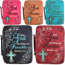 Western Style Scripture Psalm Book Bible Cover Cross Extra Strap Messenger Bag