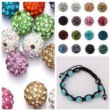 Czech Crystal Rhinestones Pave Clay Round Disco Ball Spacer Beads Bracelet DIY