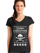 Ugly Christmas Sweater - Skull Scary Christmas Cool V-Neck Women T-Shirt Gift