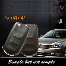 Car Remote Key Fob Case Holder Top Leather Cover Chains For VW Volkswagen CC Etc