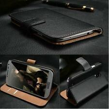 Luxury Genuine Real Leather Flip Case Wallet Cover Stand For HTC Phone Models