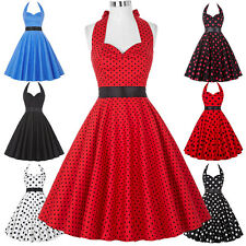 Halter Polka Dots Vintage Style Swing Cocktail Party Pin Up Dress TEA Ball Gown