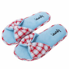 Women's Bowknot Open Toe Fleece Spa Slippers Bedroom House Shoes Red Plaid