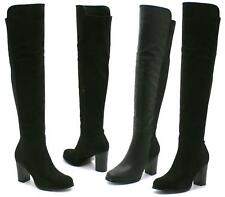 LADIES WOMENS WIDE LEG STRETCH CALF OVER KNEE THIGH HIGH CHELSEA BOOTS SIZE