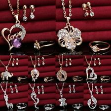 Wedding Bridal Heart Crystal Love Heart Necklace Earrings Ring Party Jewelry Set