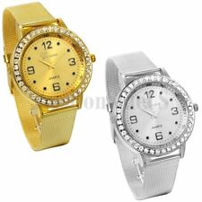 Luxury Rhinestone Dial Gold and Silver Tone Stainless Steel Analog Quartz Watch