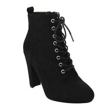 Women's Lace Up High Block Heel Ankle Bootie BLACK;BURGUNDY;TAUPE