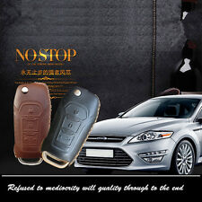 Car Remote Key Fob Case Holder Top Leather Cover Chains Fit For Ford FUCOS key