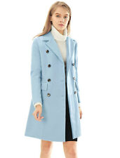Allegra K Women Notched Lapel Double Breasted Trench Worsted Coat