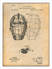 1883 Baseball Catchers Mask Patent Print Art Drawing Poster 18X24
