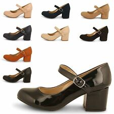 WOMENS COURT LADIES SMART MID BLOCK HEEL MARY JANE WORK OFFICE FORMAL SHOES