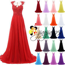 Stock Lace Appliques Formal Long Bridesmaid Dresses Prom Party Gown Evening 6-20