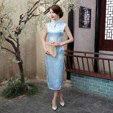 Skyblue Women's Sleeveless Silk Evening Dress Long Cheongsam SZ 6 8 10 12 14 16