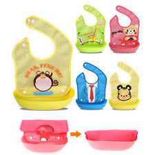 A Baby Infants Cute Animals Bibs PEVA Waterproof Washable Feeding Kids Dine Bibs