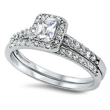 Sterling Silver .925 CZ Emerald Cut Womens Engagement Wedding Ring Set Size 5-9