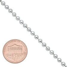 3mm Real Solid 925 Sterling Silver Men Navy Dog Tag Military Ball Bead Chain