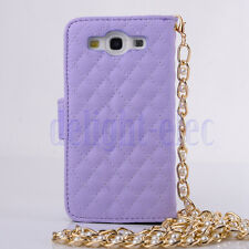 Bling Crystals Flower PU Leather Handbag Wallet Case For Samsung Galaxy S3 DE