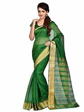 Green Indian Art Silk Sari Saree Bollywood Wedding Party Wear Saree Curtain Veil