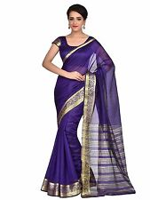 Blue Indian Art Silk Sari Saree Bollywood Wedding Party Wear Saree Curtain Veil