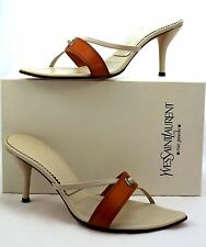 YSL YVES SAINT LAURENT SCARPE SUOLA Brown White Leather Pump Strappy Slides 40.5