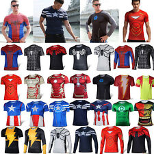 Mens Marvel Compression Under Base Layer Sports Wear Running T-Shirt Jersey Tops