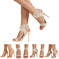 NEW WOMENS LADIES LACE UP STILETTO HIGH HEEL OPEN TOE SLINGBACK SHOES SIZE 3-8