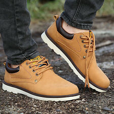 Men's Fashion Faux Leather Sneakers Lace Up Sports Flat Work Shoes Boots Truly