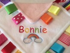 PERSONALISED RAINBOW BABY/TODDLER TAGGY BLANKET/COMFORTER/GIFT