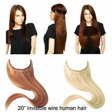 """Half Head Invisible Line  Wire 100% Remy Human Hair Extensions 20"""" 80g 100g 120g"""