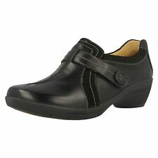 Ladies Clarks Un Faina Black Leather Trouser Shoes With Touch Fastener