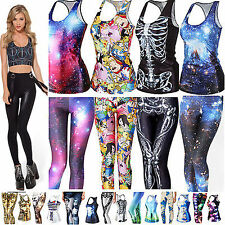 Women Gothic Punk 3D Digital Prints T-Shirt Tank Top Vest Skinny Leggings Pants