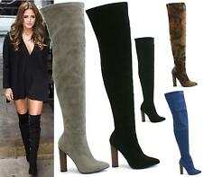 WOMENS OVER THE KNEE THIGH HIGH BLOCK HEEL FAUX SUEDE BOOTS SIZE 3-8