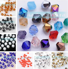 Wholesale 6mm Bicone Faceted Crystal  Jewelry Findings Glass Loose Spacer Beads