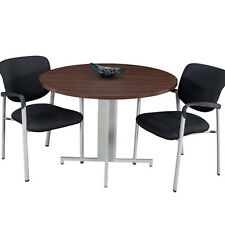 "MODERN ROUND CONFERENCE TABLE AND CHAIRS SET 42"" with Metal Base Meeting Office"