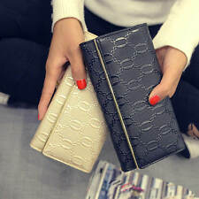 Fashion Womens Ladies Long Leather Trifold Clutch Wallet Coin Card Purse Handbag
