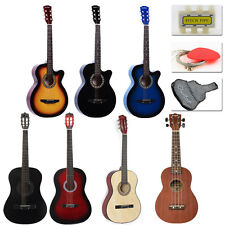 "New 38"" Beginners Acoustic GuitarCase, Strap, Tuner, Pick, Tuning Pegs USA E1"