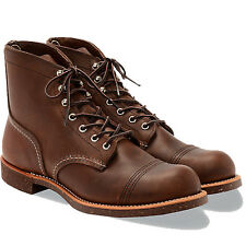 "Red Wing Heritage Boots Cap Toe Iron Ranger 6"" 8111 Amber Leather Brown"