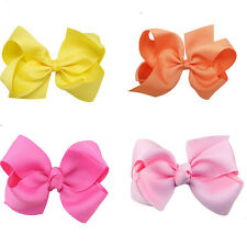 Boutique Hair Accessory Knot Grosgrain Ribbon Hair Bow Clip For Girl 10 Color