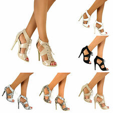 Ladies Womens Peep Toe Strappy Stiletto Gladiator Lace Up Sandals Shoes Size