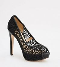 Women Peep Toe Lace Mesh Platform High Heel Pump Stilettos Shoes Size