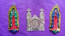 Virgen De Guadalupe Iglesia Church Virgin Mary of Mexican Painted Tin Ornaments
