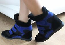 Womens Ladies Sneakers Hidden Wedge Trainers Hi Top Ankle Boots Shoes  UK 3 / 36